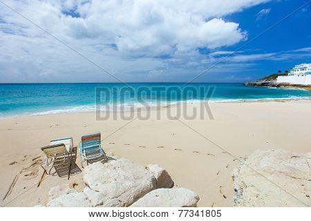 Beautiful tropical beach on Sint Maarten Caribbean