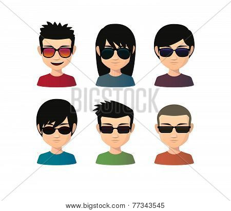 Set Of Asian Male Avatars With Various Hair Styles Wearing Sun Glasses