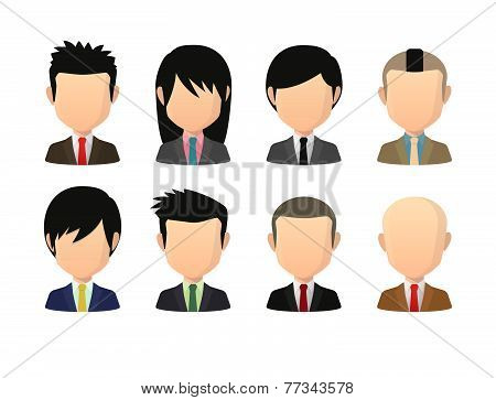 Set Of Asian Male Faceless Avatars With Various Hair Styles Wearing Suit
