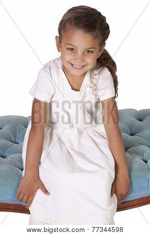Beautiful Cute Little Girl Posing On An Isolated Background