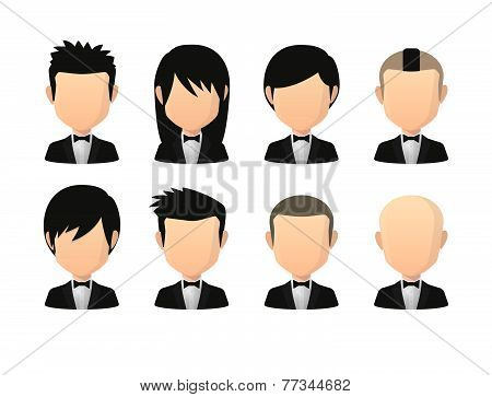Set Of Asian Male Faceless Avatars With Various Hair Styles Wearing Tuxedo