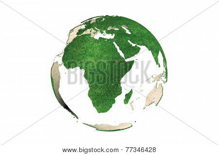 Abstract Green Grassy Earth Globe (africa)