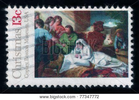 John Copley's Painting. Christmas Postage Stamp