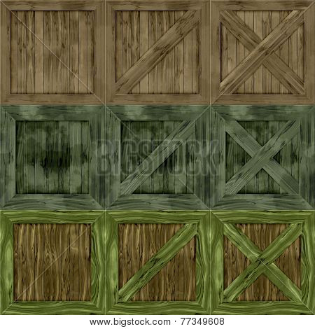 Set Of Wood Crate Generated Textures