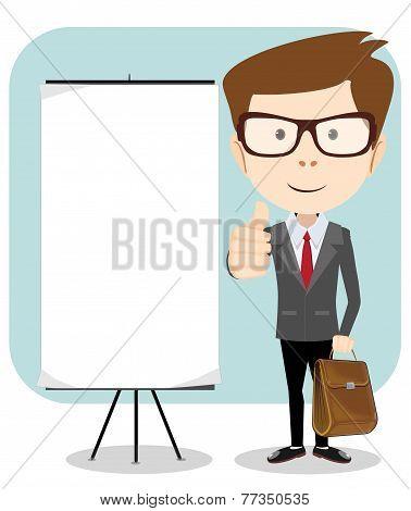 Vector illustration of a cartoon businessman holding blank message board.