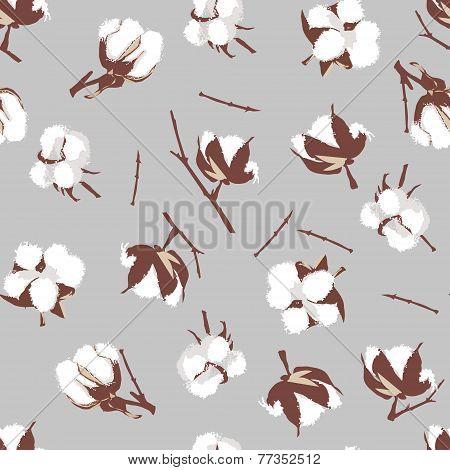Cotton bolls gray seamless vector pattern