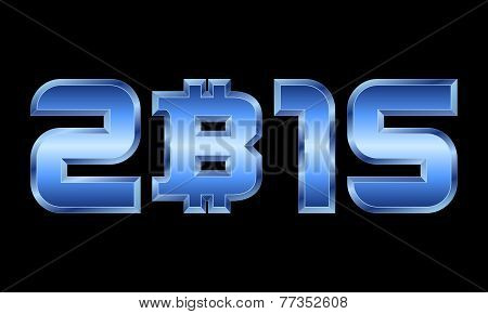 Year 2015, Blue Metal Numbers With Bitcoin Currency Symbol