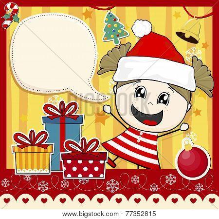christmas card girl with santa hat