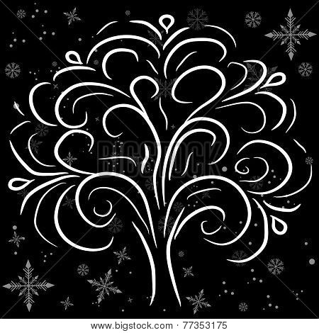 Beautiful Winter Tree On The Background Of Snowflakes