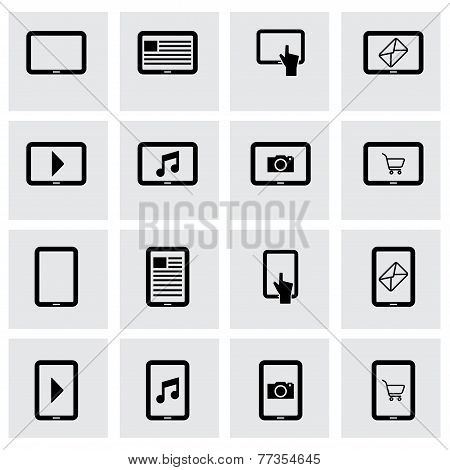 Vector black tablet icon set