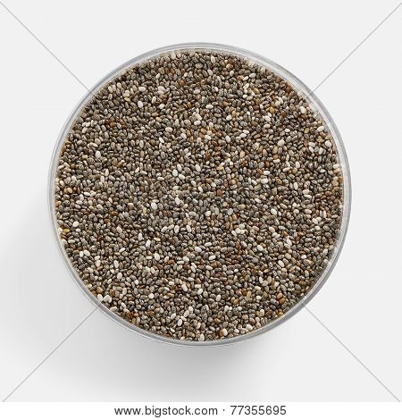 Chia Seed In A Glass Jar With A Soft Shadow