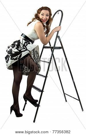 Portrait pin up woman down the stairs