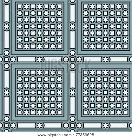 Seamless vintage ornamental tile set square with border in blue