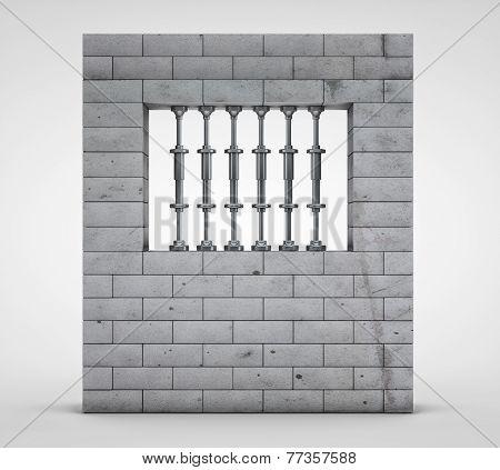 3d render of prison(jail) on a light background