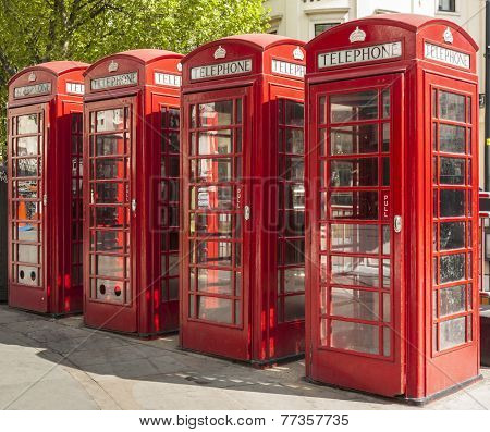 Four Red Telephone Boxes In London