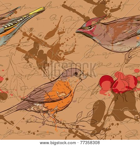 seamless pattern with birds, berries and smudges 3