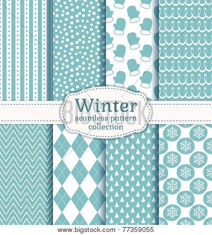 Winter Seamless Patterns. Vector Set.