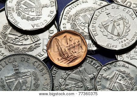 Coins of Cuba. Jose Marti Memorial in Havana depicted in the Cuban one centavo coin of Cuban convertible peso (CUC).