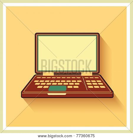 Laptop notebook personal computer on flat yellow Retro Background vintage icon Vector