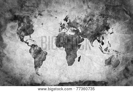 Ancient, old world map. Pencil sketch, grunge, vintage background texture. Black and white