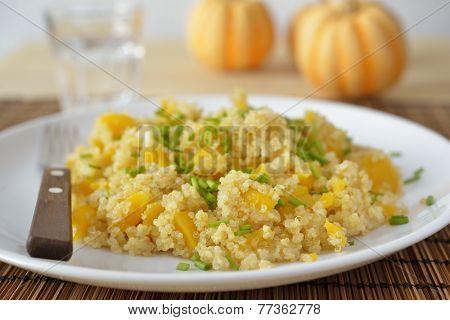 Butternut squash quinoa pilaf on a plate