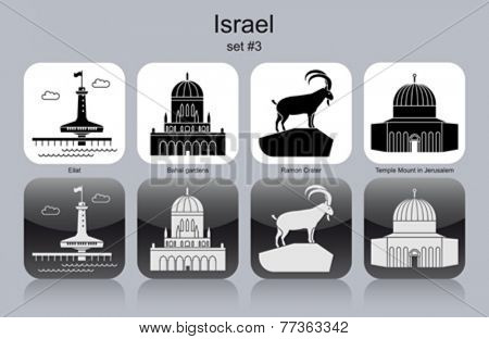 Landmarks of Israel. Set of monochrome icons. Editable vector illustration.