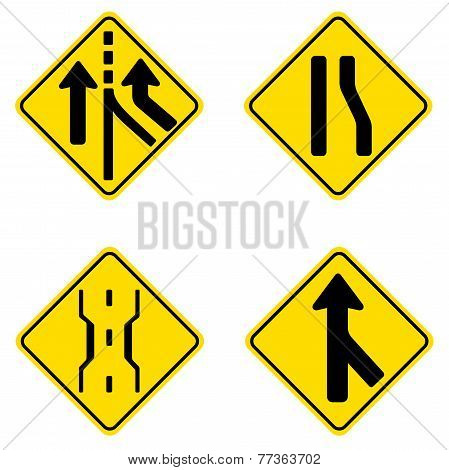 Road Signs Icons - Caution, Merging, Add Lane