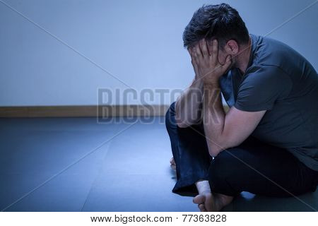 Portrait Of Lonely Depressed Man
