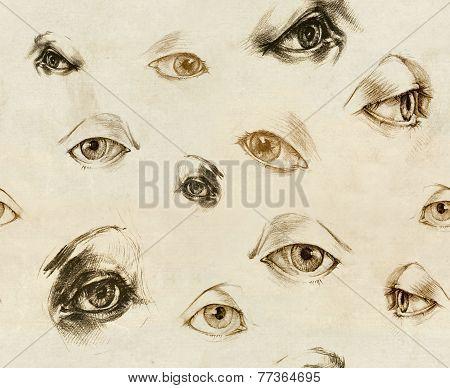 Human Eyes - Seamles Illustration. Hand Drawings.