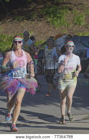 Colorful Women Running