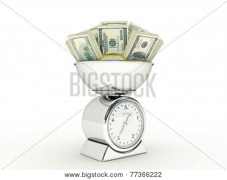 Kitchen scale with dollar money