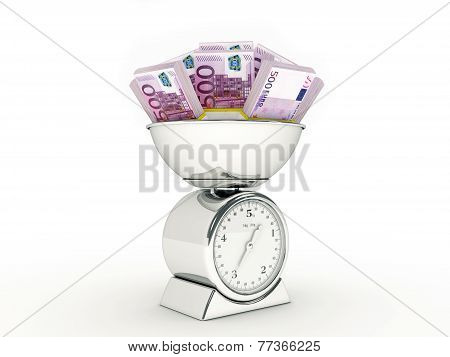 Kitchen scale with euro money