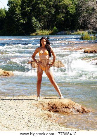Skinny Woman Orange Bikini Standing River Bank