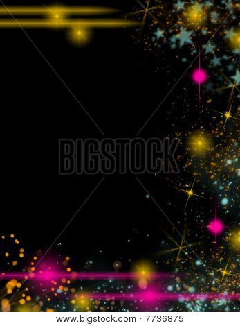 Black background with colorful lights