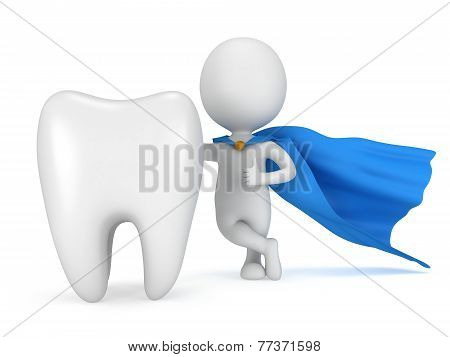 Brave Superhero Doctor With Big Healthy Tooth