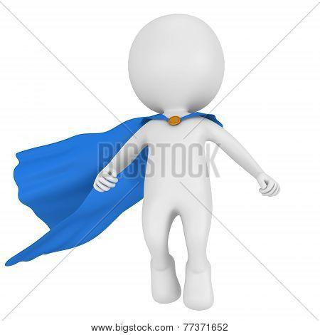 3D Brave Superhero With Blue Cloak