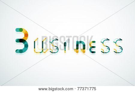 Business word keyword font, minimal line design