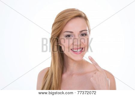 Girl On Empty Background