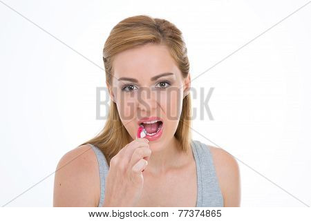 Woman With Pink Toothbrush