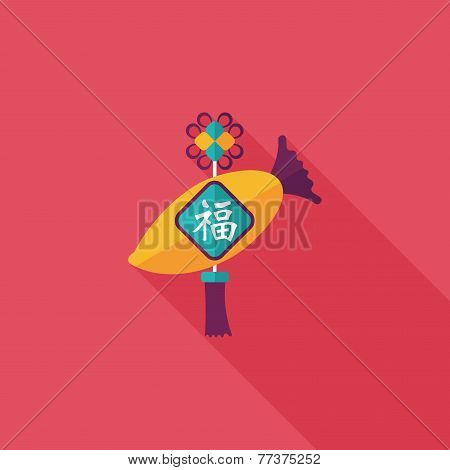 Chinese New Year Flat Icon With Long Shadow,eps10, Lucky White Radish With Chinese Words Means