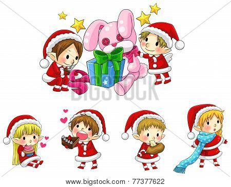Cute Christmas Elves In Cartoon Style Collection Set (vector)