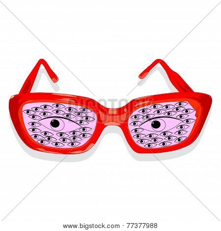 Illustration of glasses with eyes