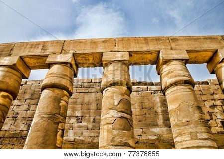 columns covered in hieroglyphics, Karnak, Egypt.