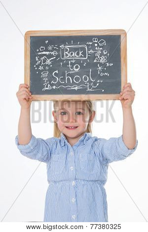 Happy Child With Smock And Blackboard