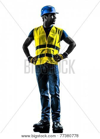one construction worker looking away with safety vest silhouette isolated in white background