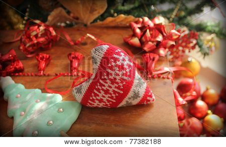 Christmas decoration- knitted heart
