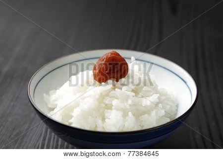 steamed rice with Japanese pickled plum