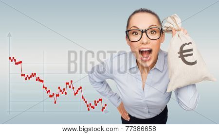 business, money and people concept - shocked businesswoman in eyeglasses holding money bag with euro over gray background and forex graph