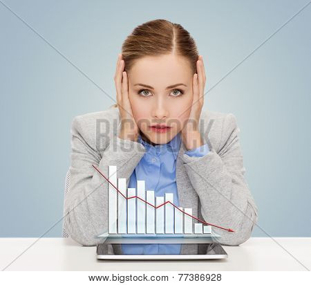 business, technology, internet and office concept - businesswoman with tablet pc computer and forex graph over gray background