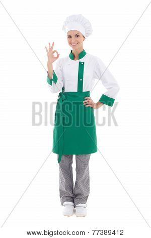 Young Chef Woman Showing Ok Sign - Full Length Isolated On White